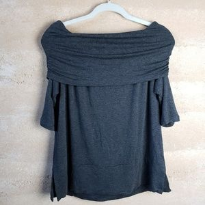 Lou and Grey Sweater Sz M Short Sleeve Ruched Cowl